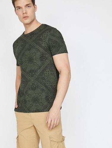 Koton Desenli T-Shirt Bordo
